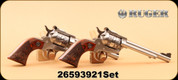 """Consign - Ruger - 22LR/22Mag - New Model Single Six - Deluxe Engraved Altamont Wood/SS, 6.5"""", Highly Engraved Cylinder, TALO Exclusive, 2Gun Set - Consecutive Serial Numbers"""