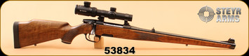 "Consign - Steyr - 9.3x62 - Model M - Wd/Bl, 20"", 2 Magazines, set trigger, quick release mounts, Vortex Crossfire II 1-4x24, illuminated plex"