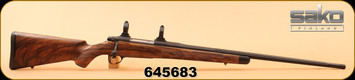 "Consign - Sako - 300 Rem Ultra Mag - AV - English Walnut Stock/Cerakoted Fluted 26"", , Timney Trigger, checkered bolt knob, Inlet swing swivel, c/w Threaded cap for brake, Approx 30rds"