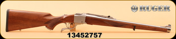 "Ruger - 257Roberts - K1RSI International - Walnut Mannlicher style stock/Brushed Stainless, 20"", Gold Bead Front/Folding Rear sights"