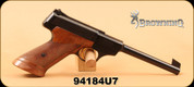 "Consign - Browning - 22LR - Challenger - Wd/Bl, 6.75"", gold trigger, Made in Belgium 1967 - c/w original box & spare mag"