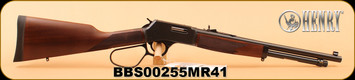 "Henry - 41 Magnum - Big Boy Steel Carbine - Lever Action Rifle - American Walnut/Blued, 16.5"" Round Barrel, Steel Receiver, Large Loop Lever, Fully Adjustable Semi-Buckhorn w/ Diamond Insert Rear Sight"