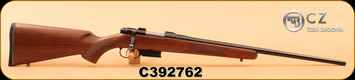 "CZ - 17Hornet - 527 American - American Style Walnut Stock eith cheek piece/Blued Finish, 22"", Integrated 16mm grooved scope mount, Adjustable trigger"