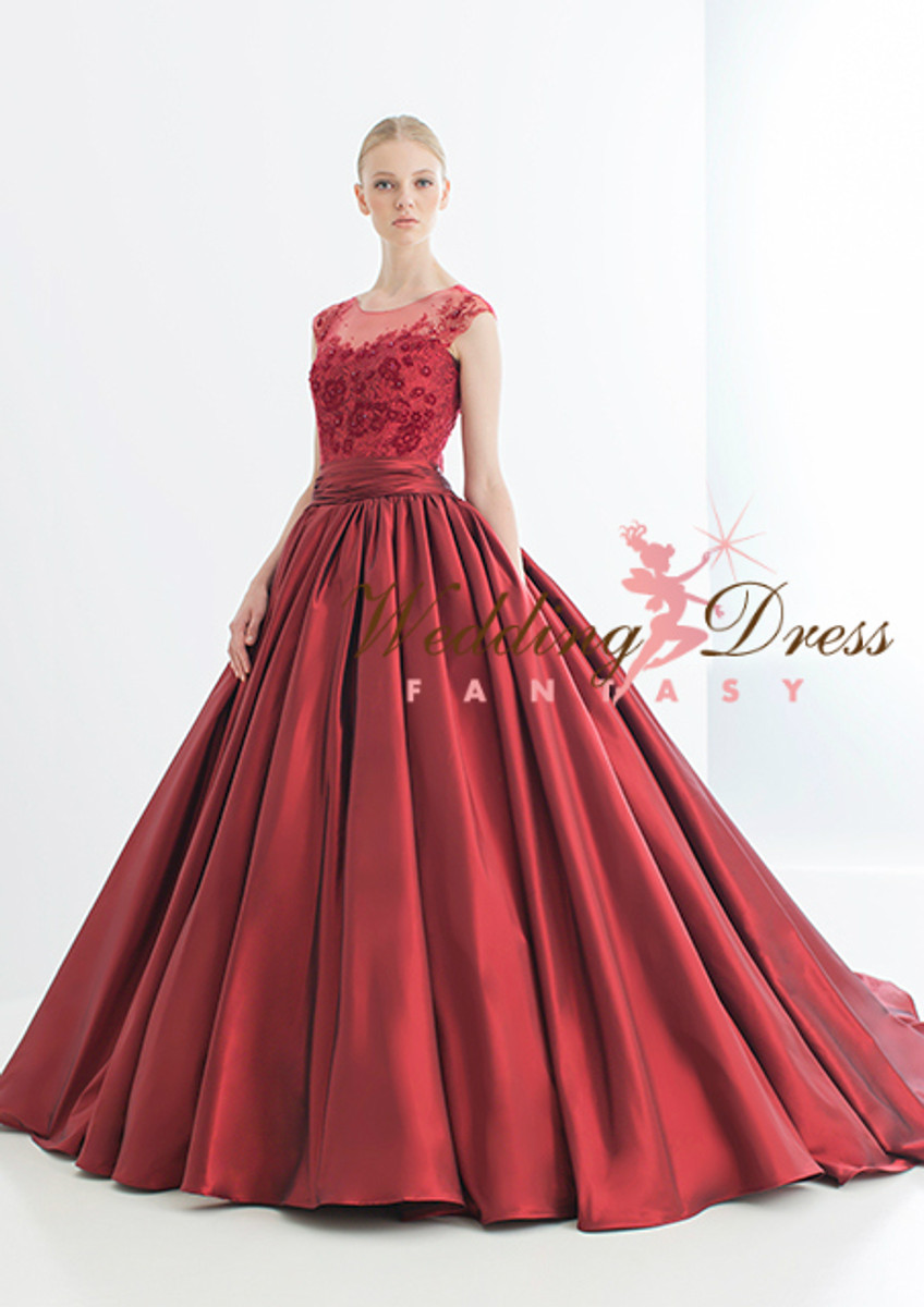 Red Wedding Dress Ballgown with illusion Lace