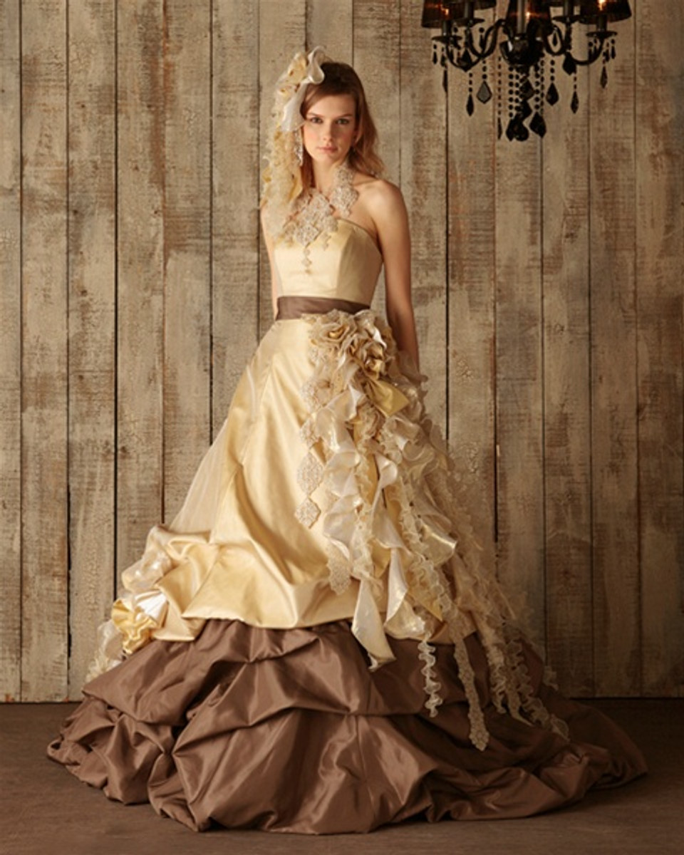 Chocolate brown and yellow gold wedding dress for Brown dresses for a wedding