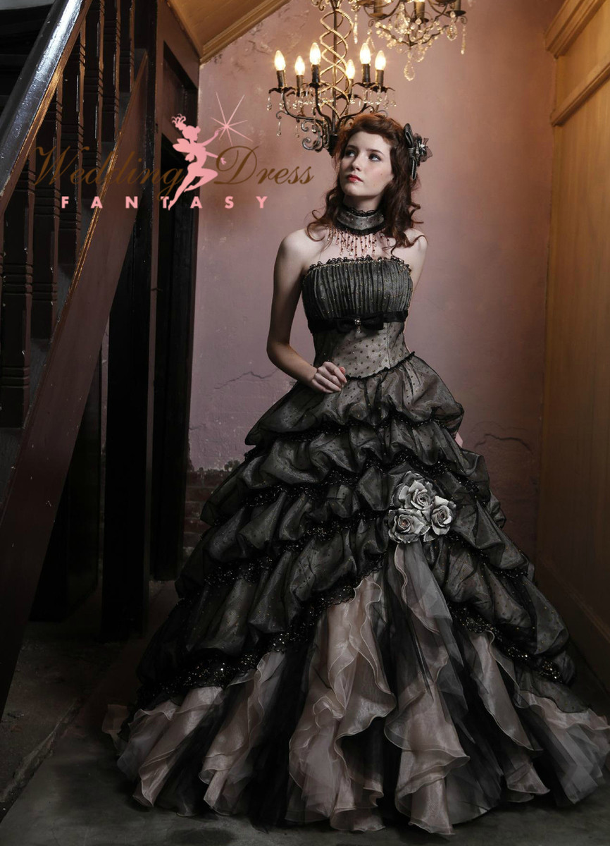 black and cream wedding dress red gothic wedding dress Gothic Wedding Dresses