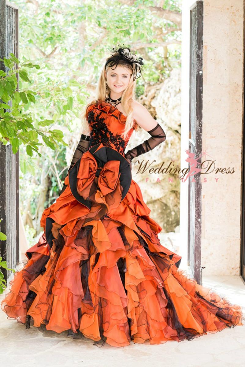 halloween gothic orange and black wedding dress - Halloween Wedding Gown