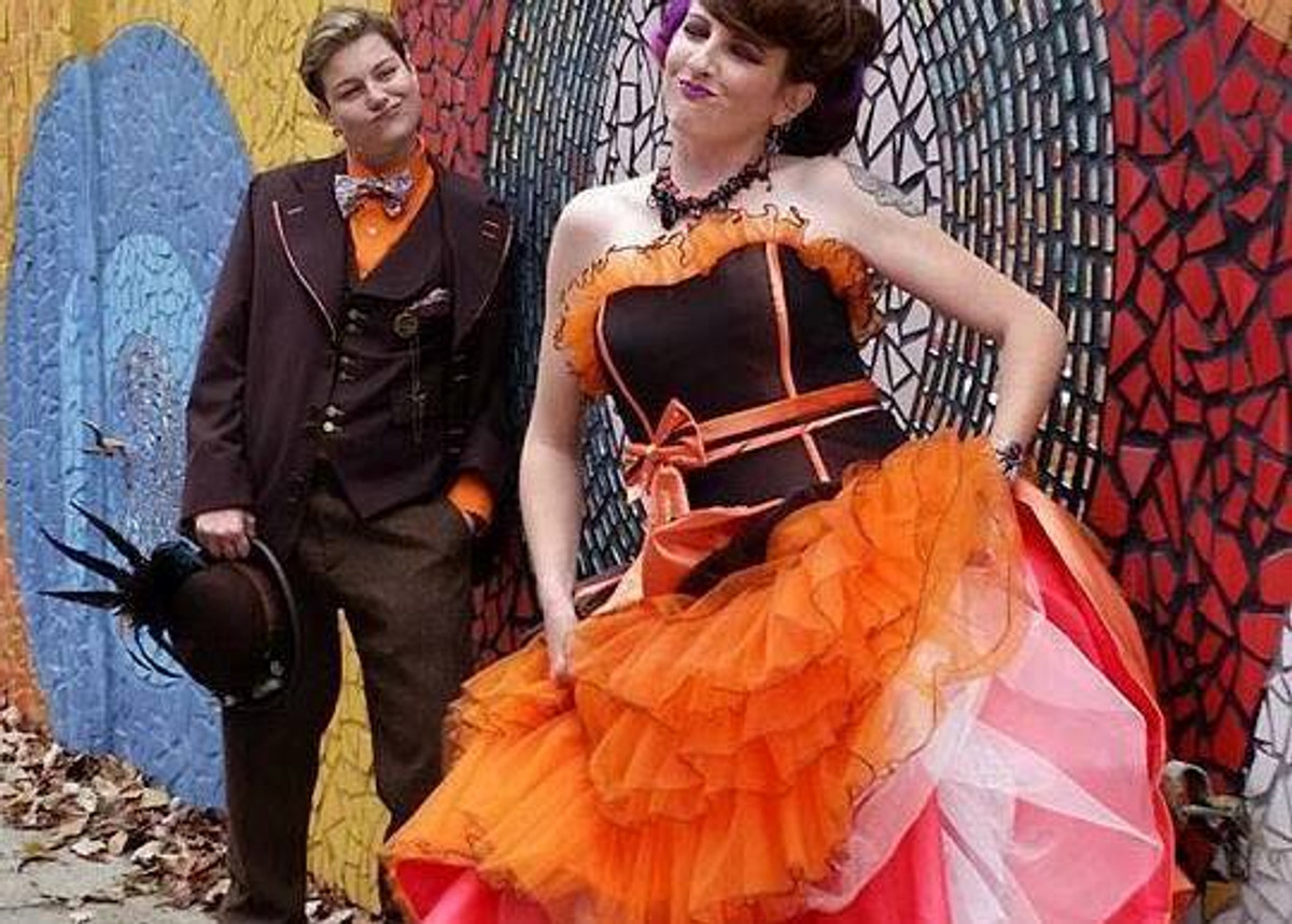 Gold, Orange and Halloween Wedding Dresses