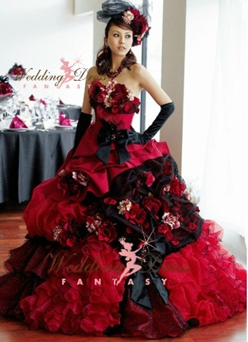 burgundy pink and black wedding dress available in every color