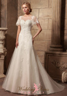Modest Wedding Dress with Flutter Sleeves