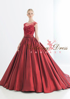 Red Illusion Lace Wedding Dress