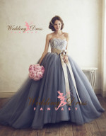 Blue Tulle and Lace Ballgown