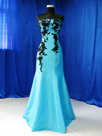 Trumpet Style Blue and Black Wedding Dress - Available in Every Color