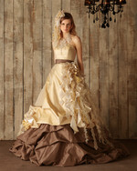 Chocolate Brown and Yellow Gold Wedding Dress - Available in Every Color