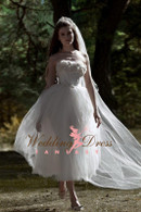 Tea Length Vintage Inspired Wedding Dress with Exposed Boning - Available in Every Color