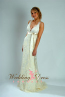 Satin and Vintage Inspired Lace Wedding Dress with Champagne Sash - Available in Every Color