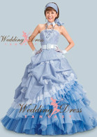 Seersucker Blue Wedding Dress
