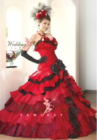 Red black and silver wedding dresses junoir bridesmaid for Black and silver wedding dress