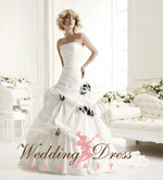 Pleated Taffeta Wedding Dress