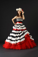 Black White and Red Striped Wedding Dress