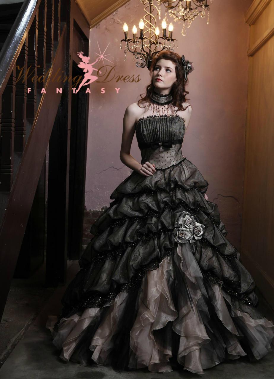 Black wedding dress for Black gothic wedding dress