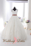 Lace Ballgown Wedding Dress with Lace Straps