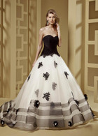 Black and White Wedding Gown Drop Waist