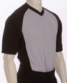 Deluxe Performance Mesh Solid Grey V-Neck Referee Shirt with Black Sleeves