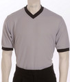 Deluxe Performance Mesh Solid Grey V-Neck Shirt with Black Trim
