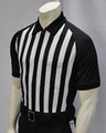 "Football Referee Shirt with Black Raglan Sleeves. Made In The USA. Smitty ""ELITE"" Performance Fabric. Short sleeve referee shirt with black raglan sleeves, 1"" stripes and side panel."