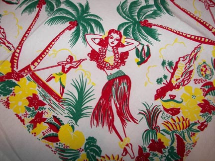 Lovely Oahu Hawaiian Cotton Tablecloth By Red And White
