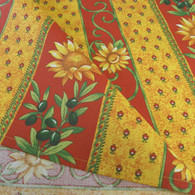 Le Cluny Sunflowers and Olives Tablecloth Red and Yellow