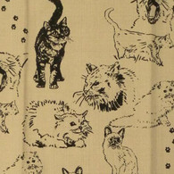 Crazy Cats Print Novelty Kitchen Towels, Natural, Set of 2