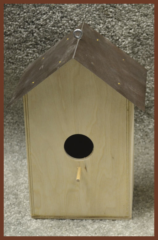 Wood Birdhouse Wood Base With Metal Roof 2 Different