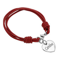 Personalize Heart Charm with Red Leather Bracelet