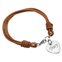 Personalize Heart Charm with Brown Leather Bracelet