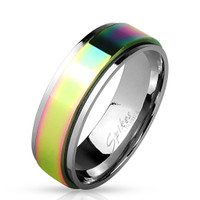 Personalized Stainless Steel Rainbow Spinner Ring