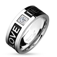 "Two Tone "" Love Devotion"" Stainless Steel Promise Ring"