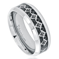 Titanium Ring with Cut-Out Masonic Symbol over Carbon Fiber Inlay