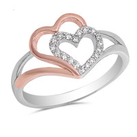 Sterling Silver Dual Tone Double Heart Ring