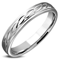 4mm Stainless Steel Celtic Twisted Comfort Fit Band Ring