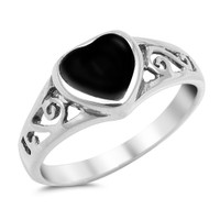 Sterling Silver with Heart Shape Black  Onyx Stone
