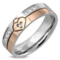 Personalized Stainless Steel 2-tone Love Heart Padlock Ring