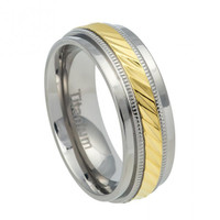 Personalized Titanium Ring Yellow IP Notched Center with Milgrain
