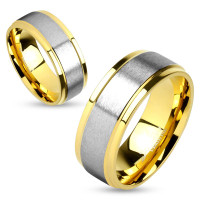 Two Tone Titanium Brushed Metal Center Step Edge Gold Couple Rings