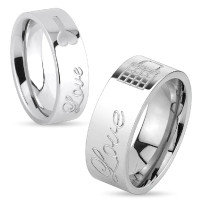 Lock & Key Love Engraved Stainless Steel Couple Rings