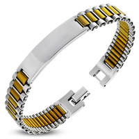 Personalized Stainless Steel 2-ton ID Bracelet - Free Engraving