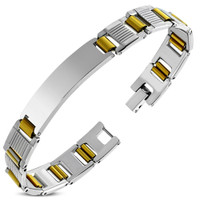 Quality Stainless Steel 2-ton ID Bracelet - Free Engraving