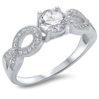 Sterling Silver Infinity Style With CZ Solitaire Ring