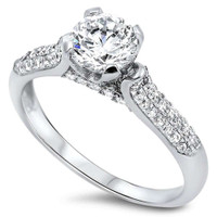 Sterling Silver with 1ct Round CZ Promise Ring